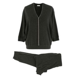 Brunello Cucinelli Charcoal Monili Bead Cashmere Top & Joggers