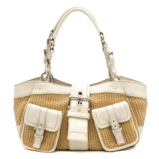 Prada White Leather Wicker Hand Bag