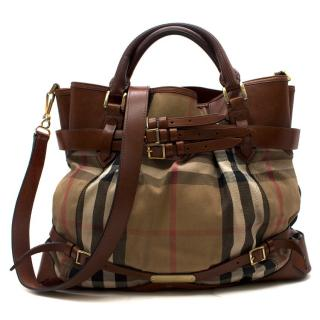 Burberry Nova Check Canvas & Leather Large Tote Bag
