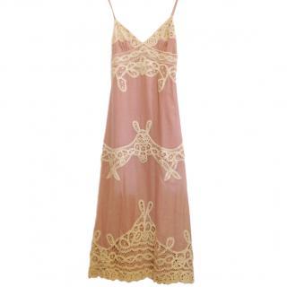 Temperley Pink Lace Trim Summer Dress