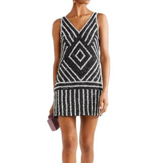 Alice+Olivia Black & White Venetia Sequin Crepe Mini Dress