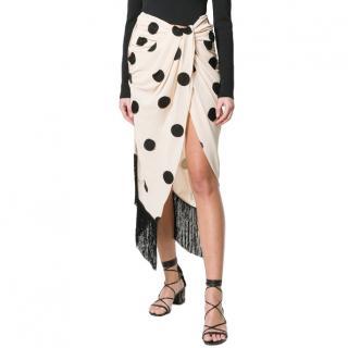 Jacquemus La Bomba Polka Dot Fringe Skirt