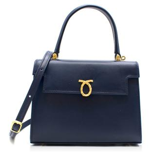 Launer Indigo Judi Leather Tote Bag