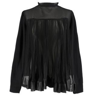 Bespoke Black Wool Blend Pleated Chiffon Knit Cardigan Back Jumper