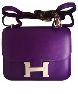 Hermes Purple Constance Leather Shoulder Bag