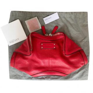 Alexander McQueen Red Leather Manta Clutch