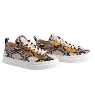Chloe Goat Leather Python Print Trainers