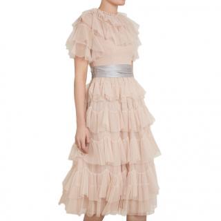 Needle & Thread Rose Quartz Scallop Tulle Midi Dress