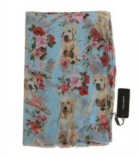 Dolce & Gabbana Blue Rose & Dog Print Wrap Scarf
