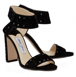 Jimmy Choo Black Suede Veto 100 Sandals