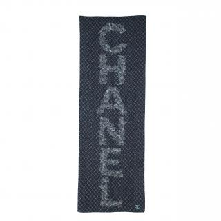 Chanel Navy Diamond Leaf Print Silk Shawl