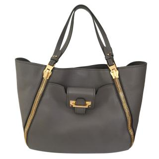 Tom Ford Grey Calfskin Sedgewick Tote