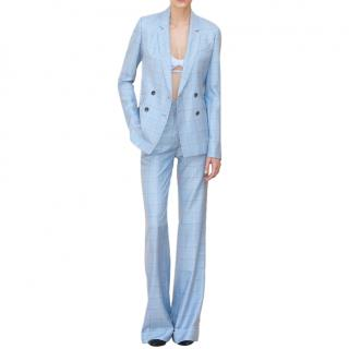 Gabriela Hearst Blue Check Silk and Wool-blend Suit