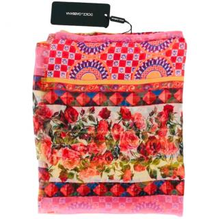 Dolce & Gabbana Rose Caretto Print Wrap Scarf