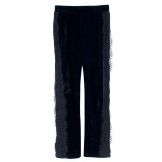 Clu Navy Velour Lace Trim Joggers