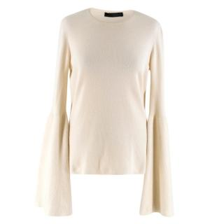 The Row Cashmere Beige Trumpet Sleeve Knit Sweater