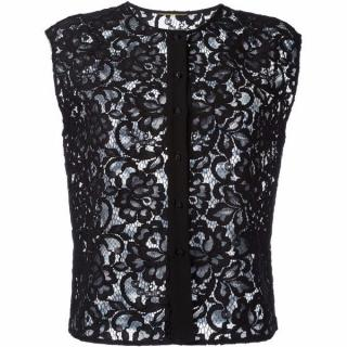 Saint Laurent Black Lace Sleeveless Top