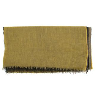 Brioni Yellow and Black Cashmere Shawl