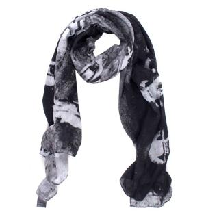 The Kooples Sport B&W Motorcyclists Printed Shawl