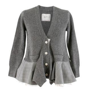 Sacai Grey Wool Knit Blazer Peplum Cardigan