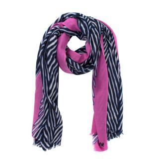 Diane Von Furstenberg Pink Zebra Print Cashmere Shawl