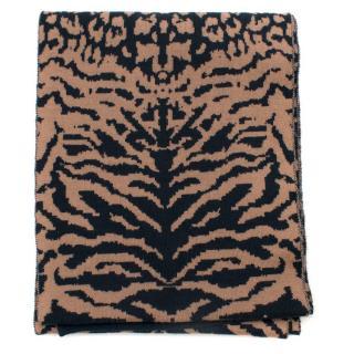 Shanghai Tang Wool Cheetah Print Scarf