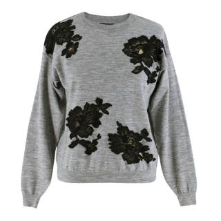 Lanvin Grey Wool Floral Lace Embellished Knit Sweater