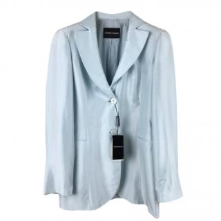 Emporio Armani Powder Blue Silk Long Line Blazer