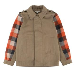 Stella McCartney Boys 10Y Taupe Wool Checked Coat
