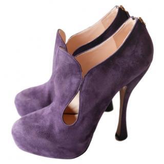Prada purple suede Rococo bootie pumps