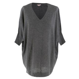 PAROSH Grey Wool & Cashmere Oversize Top