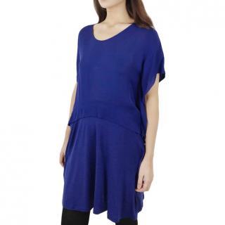 Sonia By Sonia Rykiel Drape Sleeve Blue Dress