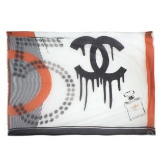 Chanel No5 Perfume Bottle Graffiti Print Cashmere Shawl