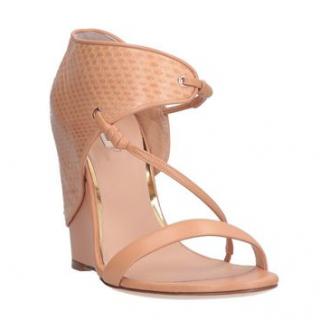 Roberto Cavalli Tan Wrap-Around Wedge Sandals