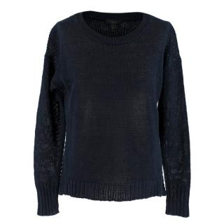 J.Crew Navy Linen Open Knit Jumper