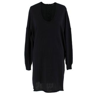 Joseph Black Wool Hook & Eye Detail Jumper Dress