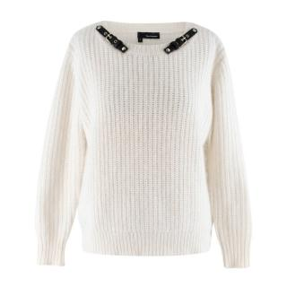 The Kooples White Angora blend Embellished Knit Sweater
