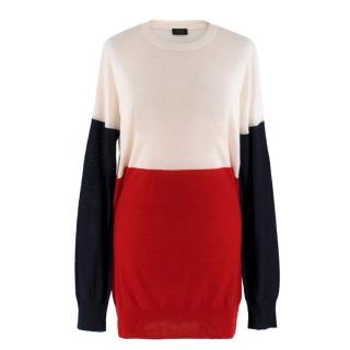 Joseph Red White and Blue Colourblock Cashmere Jumper