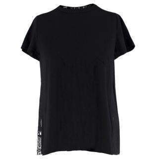 Sacai Linen Blend Black Top W/ Pleated Print Back