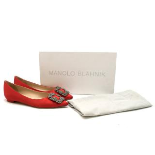 Manolo Blahnik Red Satin Hangisi Flats