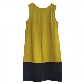 Balenciaga Paris Chartreuse and Navy Silk Dress