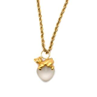 Bespoke 14kt Gold Bear and Heart Pedant Necklace