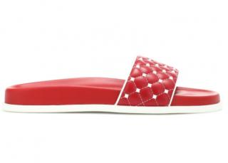 Valentino Garavani Red Free Rockstud Spike leather slides