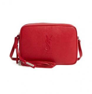Saint Laurent Red Lou Camera Bag In Smooth Leather