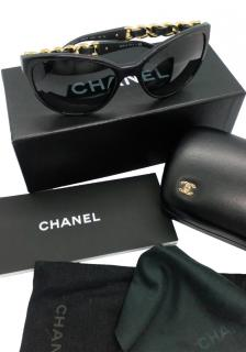 Chanel Black & Gold Chain Leg Sunglasses