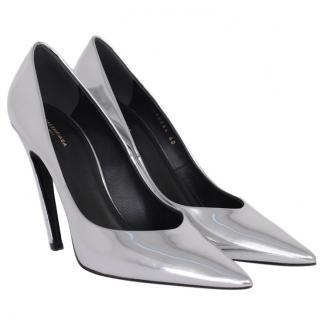 Balenciaga slash heel silver mirrored pumps