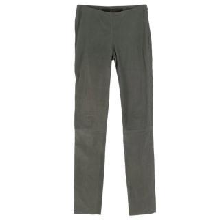 DROMe Grey Leather Raw Cut Leggings