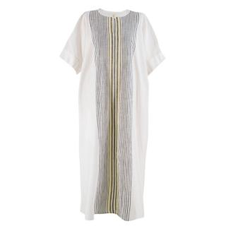 Choice Gold Off White Cotton Striped Long Kaftan Dress