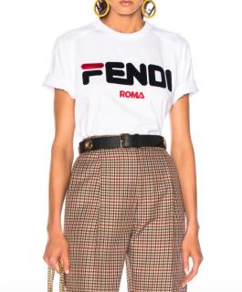 Fendi Fendi Mania Flocked Logo Tee