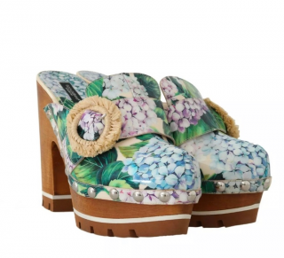 Dolce & Gabbana Hydrangea Print Clogs